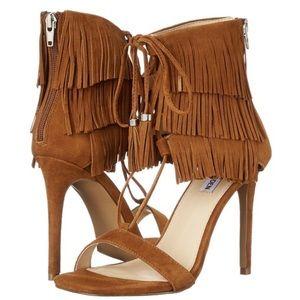 Steve Madden Shay Chestnut Suede fringe heels